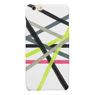 Colorful lime pink black acrylic stripes pattern glossy iPhone 6 plus case
