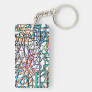 Colorful Line Art Letters Keychain
