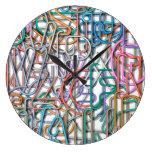 Colorful Line Art Letters Wallclock