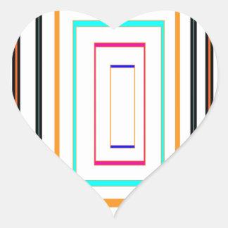 Colorful Line Art Sq Rectangle Graphics KIDS fun99 Heart Sticker