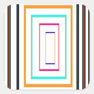 Colorful Line Art Sq Rectangle Graphics KIDS fun99 Square Sticker
