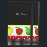 "Colorful Line of Apples iPad Air Case<br><div class=""desc"">Stylish teacher&#39;s iPad Air folio style case, done in black, on the top half and two polka dot patterns, on the bottom. Graphics of red, green, and yellow apples on a white band, runs across the middle of the case. Personalize the white text to read what you want. Great gift...</div>"