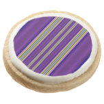 Colorful Line pattern Round Premium Shortbread Cookie