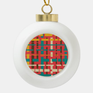 Colorful line segments ceramic ball christmas ornament