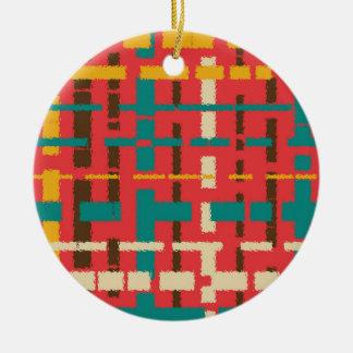 Colorful line segments ceramic ornament