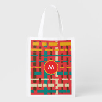 Colorful line segments grocery bag