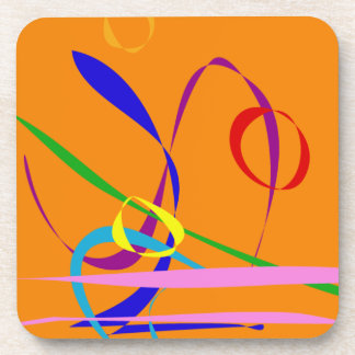 Colorful Lines against Orange Background Drink Coasters