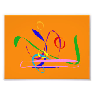 Colorful Lines against Orange Background Photograph