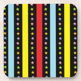 Colorful Lines and Stars Beverage Coaster