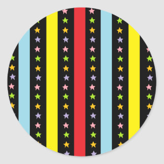 Colorful Lines and Stars Classic Round Sticker