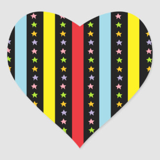 Colorful Lines and Stars Heart Sticker