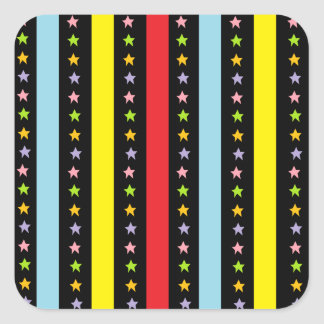 Colorful Lines and Stars Square Sticker
