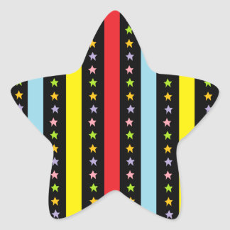 Colorful Lines and Stars Star Sticker