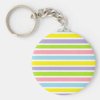 Colorful Lines Basic Round Button Keychain