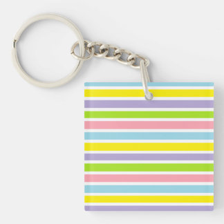 Colorful Lines Double-Sided Square Acrylic Keychain