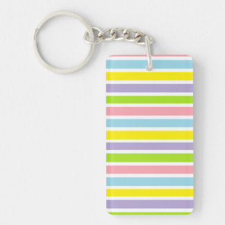 Colorful Lines Double-Sided Rectangular Acrylic Keychain