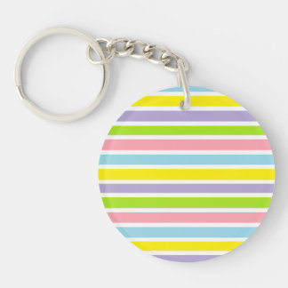 Colorful Lines Double-Sided Round Acrylic Keychain