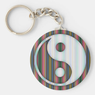 colorful Lines Yin Yang Colorful Basic Round Button Keychain