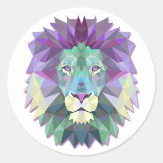 Colorful Lion Classic Round Sticker