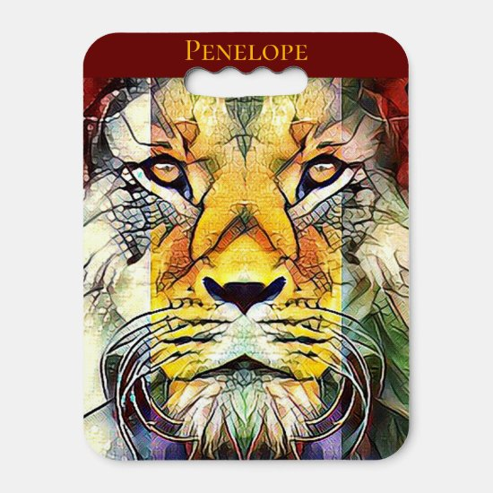 Colorful Lion Creative Wildlife Pop Art and Name Seat Cushion