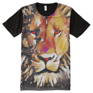 Colorful Lion Cubist Acrylic Art All-Over-Print T-Shirt