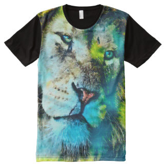 Colorful Lion Face Airbrush Art All-Over-Print Shirt