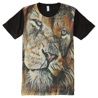 Colorful Lion Face Charcoal Art All-Over-Print T-Shirt