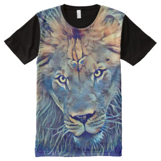 Colorful Lion Fantasy Airbrush Art All-Over-Print T-Shirt