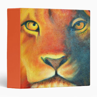 Colorful Lion Head Portrait Oil Painting 3 Ring Binder