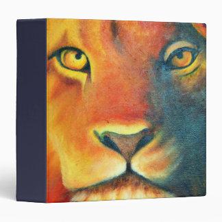 Colorful Lion Head Portrait Oil Painting Binder