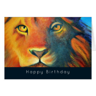 Colorful Lion Head Portrait Oil Painting Birthday Card