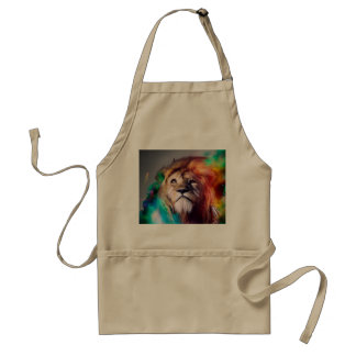 Colorful lion looking up Feathers Space Universe Adult Apron