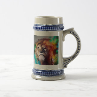 Colorful lion looking up Feathers Space Universe Beer Stein