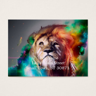 Colorful lion looking up Feathers Space Universe Business Card