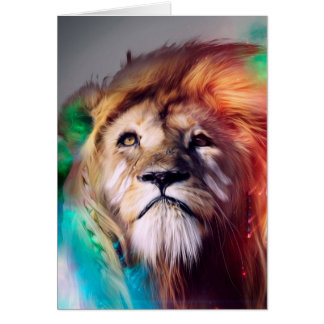 Colorful lion looking up Feathers Space Universe Card