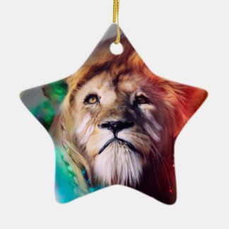 Colorful lion looking up Feathers Space Universe Ceramic Ornament