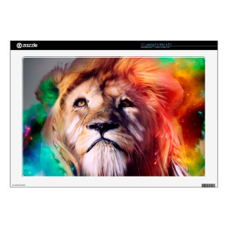 Colorful lion looking up Feathers Space Universe Decal For Laptop