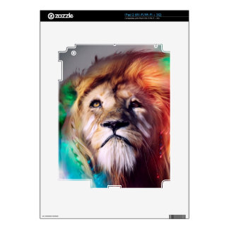 Colorful lion looking up Feathers Space Universe Decal For The iPad 2