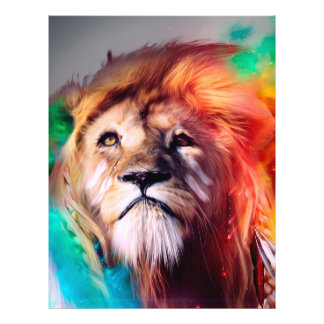 Colorful lion looking up Feathers Space Universe Flyer