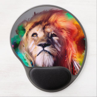 Colorful lion looking up Feathers Space Universe Gel Mouse Pad