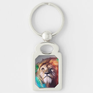 Colorful lion looking up Feathers Space Universe Keychain