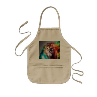 Colorful lion looking up Feathers Space Universe Kids' Apron