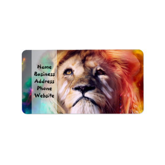 Colorful lion looking up Feathers Space Universe Label