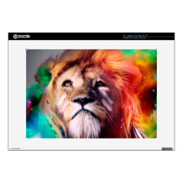 Colorful lion looking up Feathers Space Universe Laptop Decal