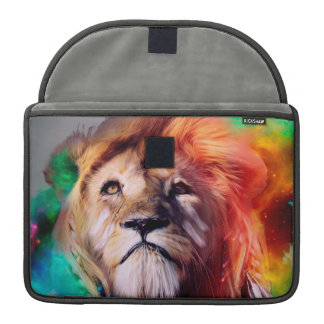 Colorful lion looking up Feathers Space Universe Sleeve For MacBook Pro