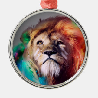 Colorful lion looking up Feathers Space Universe Metal Ornament
