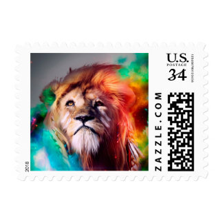Colorful lion looking up Feathers Space Universe Postage
