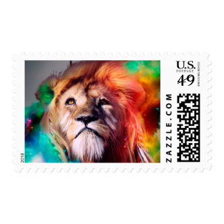 Colorful lion looking up Feathers Space Universe Postage Stamp