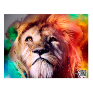 Colorful lion looking up Feathers Space Universe Postcard