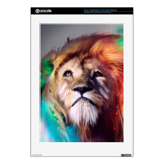 Colorful lion looking up Feathers Space Universe PS3 Skins